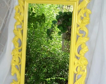 Yellow Mirror, Ornate Mirror, Rose Mirror, Nursery Mirror,Choose Mirror or Chalkboard  Size 30 x 19 Choose Color