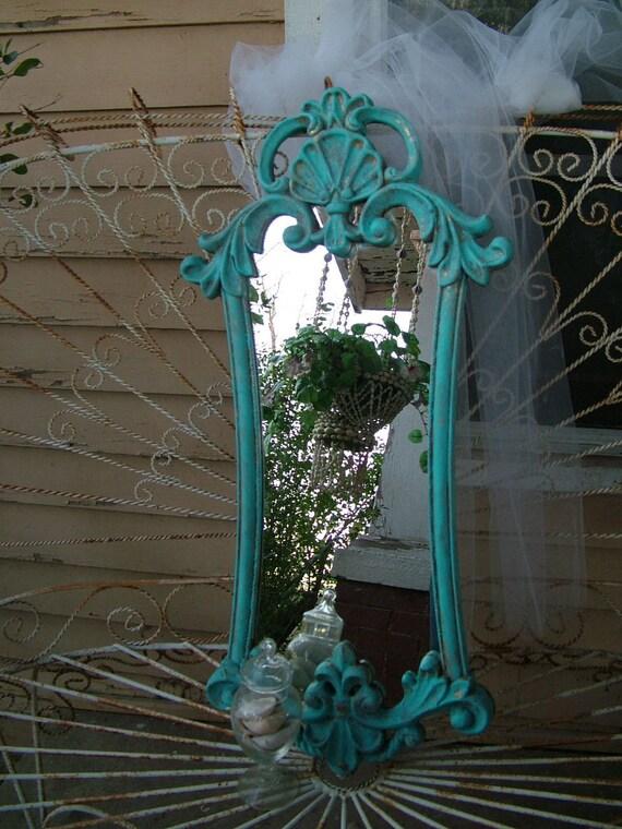 Aqua Ornate  Sea Shell Mirror Beach Cottage Decor Use in Foyer, Bathroom, Nursery, etc.... 32 x 15 /2