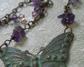 Papillon Lavande butterfly necklace genuine amethyst  teal verdigris patina purple freshwater pearl briolette lilac lavender bohemian