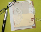 Rustic Doily Mixed Media Birthday Anniversary Wedding Thank You Card . Junk Journal Smash Mini . Husband Boyfriend . Book Page . A2 size