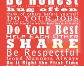 11x14 Family and House Rules Subway Art Print Poster . Gift for Mom . Coral Red Green Denim Blue