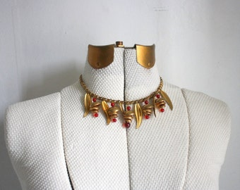 Vintage Leaf and Acorn Necklace, Gold and Red Charm Choker