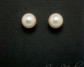 Pearl Earrings With 10mm Cream Rose Pearls In 14K Gold Filled