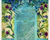 CUSTOM KETUBAH - Ketubahs - Ketuba - Jewish Marriage contract - Jewish Wedding - Jewish Judaica art Print - English Hebrew - Blue Peacocks