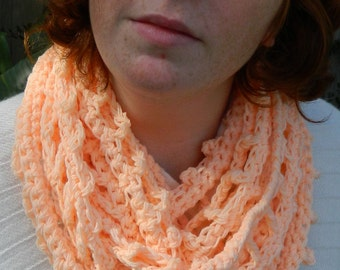 INFINITY or loop scarf neck warmer chrochet in peachy pink