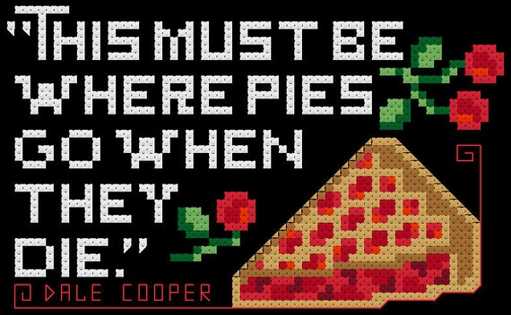 Twin Peaks Cherry Pie Quote Cross Stitch PDF Pattern
