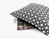 Decorative Pillow Cover - Retro Black and White Circles, Linen- Cotton Canvas  in 16 x 16 inches