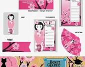 Printable Pink Sakura Birthday Party Set - PDF