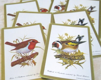6 Goldfinch and Robin Vintage Bird Playing Cards