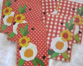 6 Felty Flowers Red & White Polka Dot and Gingham Vintage Playing Cards