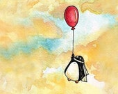 Penguin and a Red Balloon - 8 x 10 inch print