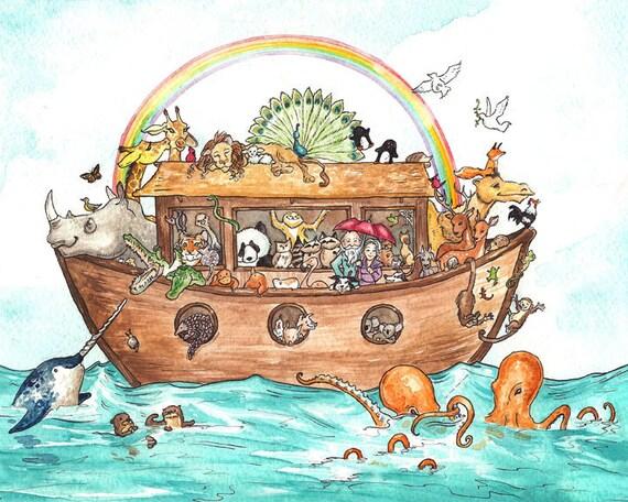 Noah's Ark Print - 8 x 10 inch print