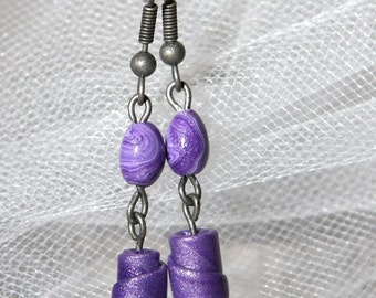 Violet Earrings - Rolled Purple Polymer Clay Beads Hypoallergenic ear hooks