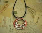 Stacked Hoop Circle Necklace.  DOUBLE-sided. Embossed. Recycled Soda Can Art. Diet Coke