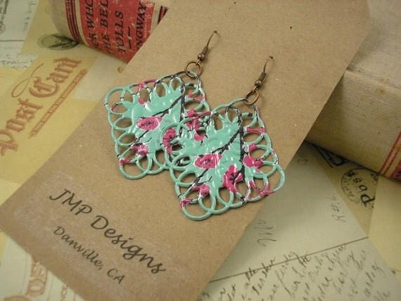 Metal Lace Diamond  Earrings.  DOUBLE-sided.  Recycled Soda Can Art.  AZ Tea. Dangle & Drop Earrings.