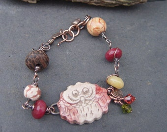 Polly the Pink Owl - Earthenware Connector, Jade, Polymer and Wood Bracelet