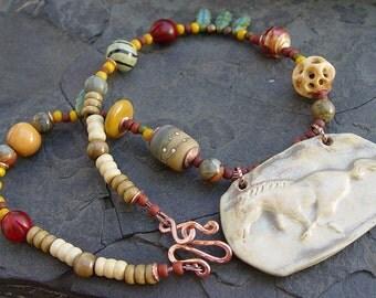 Desert Paint - Palamino Porcelain Horse Pendant, Handmade Lampwork, Kazuri, Glass, Copper Necklace