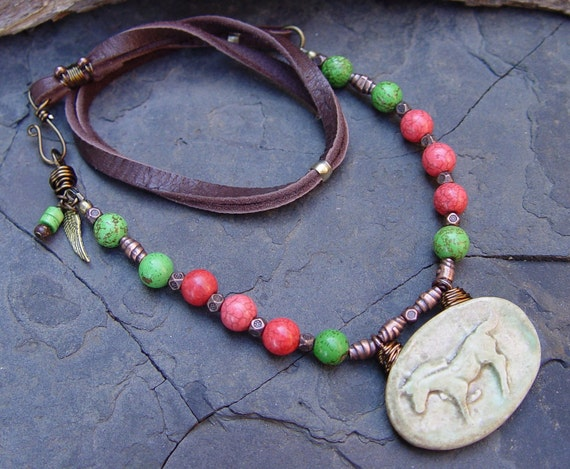 Spirit Horse -- Sage Stoneware Horse Pendant with Peach and Poison Green Magnesite with Leather Necklace