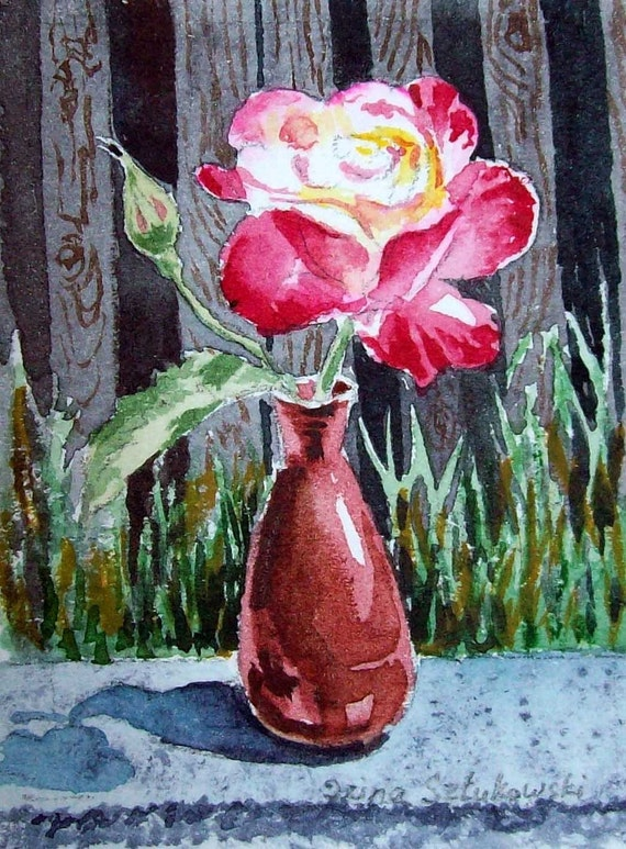 Garden Rose Original Miniature Watercolor Painting ACEO ATC
