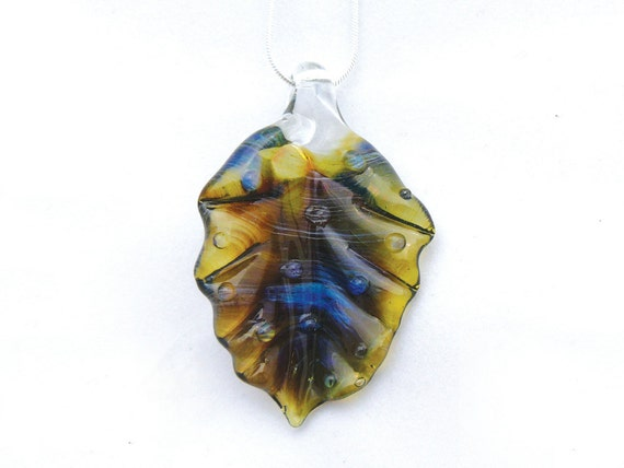 Jubilant Glass Leaf Pendant   Flamecrafted Borosilicate On Sterling Silver    Free Shipping