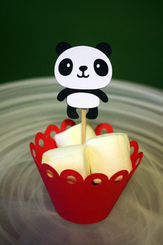 Items Similar To Panda Bear Cupcake Toppers Cake Toppers