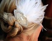 Hanna- Stunning Feather  Fascinator with Rhinestone Accent Piece, bridal hair accessories, feather hair accessories