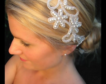 Ready to Ship-Marcelina Rhinestone beaded bridal headband