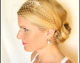 Ready To Ship- 9 inch bridal birdcage veil, blusher veil, bridal hair accessories