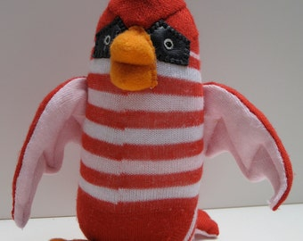CARDINAL de BRICASSART red, pink and white striped sock toy , baby safe, from the Baby Budgie Collection