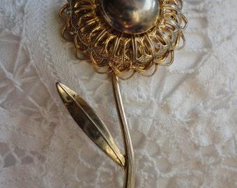 Vintage Gold Tone Big Bold Flower Brooch