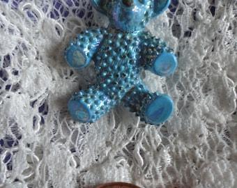 Enameled Metal Blue Bumpy Teddy Bear Vintage Brooch