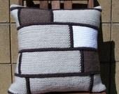 Crochet Throw Pillow Tan/Brown/White Bricks, Decorative Pillow, 16 x 16