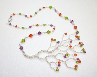 Hand Twisted Tree Necklace in Funky Fall