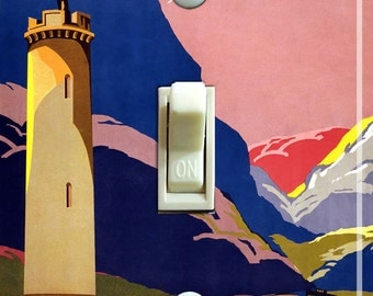 SCOTLAND Tower Vintage Travel Poster Switch Plate (single)  ***FREE SHIPPING***