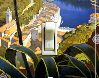 ITALIAN RIVIERA Vintage Poster Switch Plate (single)  ***FREE Shipping***