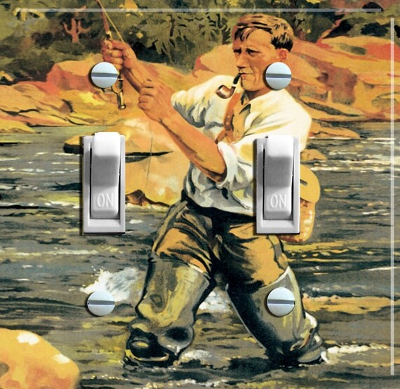 Fly fishing vintage poster switch plate single or double for Fly fishing posters