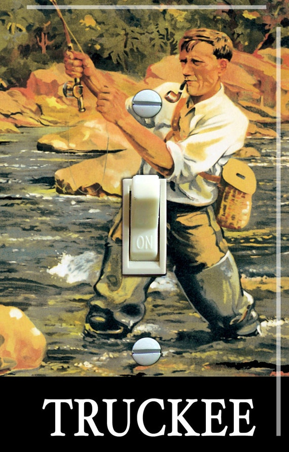 Fly fish truckee vintage poster switch by vintageswitchplates for Fly fishing posters