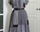 60s Dress, Full Skirt, Sheer, Chiffon, Black and White, Cherry Print, Size S/M