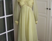 ON SALE - Vintage 50s Yellow Chiffon Juliet Dress with Beaded Bodice, Wedding Gown, Prom, Size S/M
