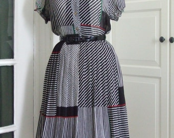 60s Dress, Full Skirt, Sheer, Chiffon, Black and White, Cherry Print, Size S/M