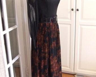 50s 60s Dress, Maxi, Black Chiffon Over Taffeta, Prom, Wedding, Party, Size S/M