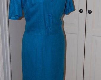 50s Wiggle Dress, Bright Blue, 2-Piece, Outfit, Adele Martin, Size S/M