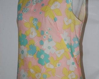 60s Shift Dress, Mod, Pastels, Pleated Hem, Sheath, Light Cotton, by Tizzie, Size S/M