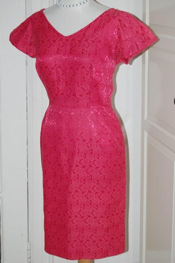 50s Cherry Red Brocade Wiggle Cocktail Dress, Size Medium