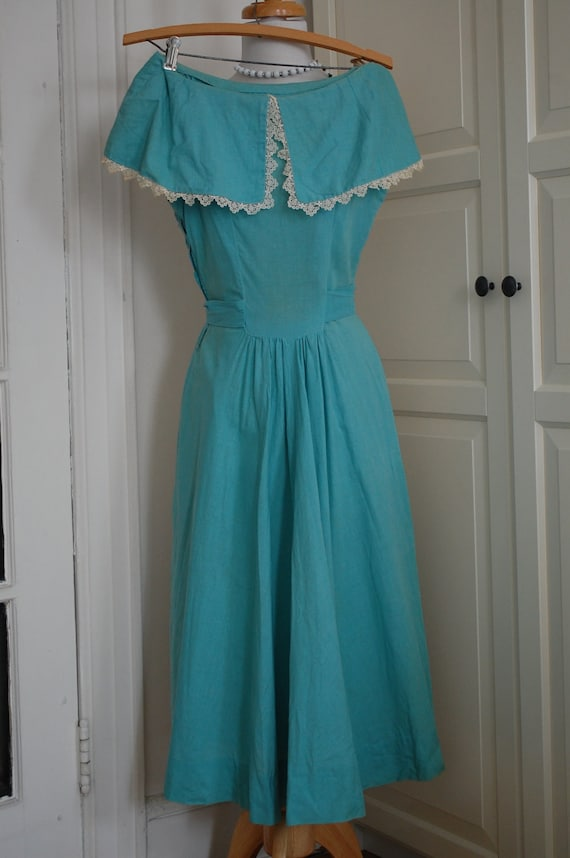 1930s Blue Tea Length Dress in Cotton Linen Blend Size Small XS