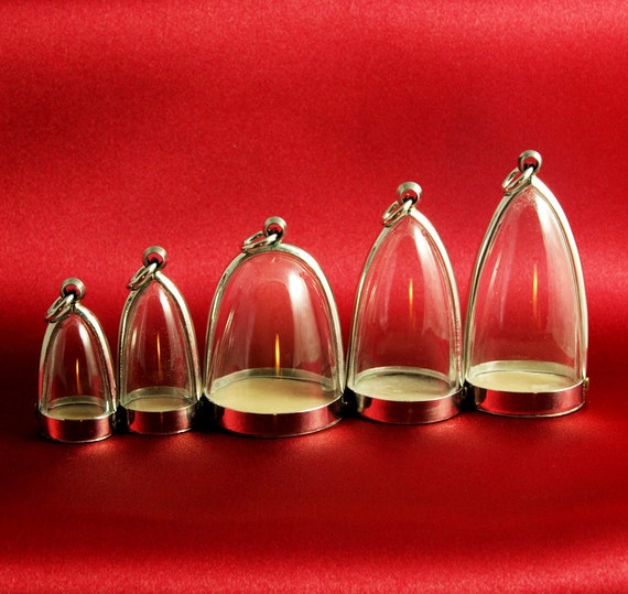 5 Clear Dome Shaped Blank Shadow Box Pendant Charm Memento Jewelry Cases - ONLY 5 DOLLARS EACH