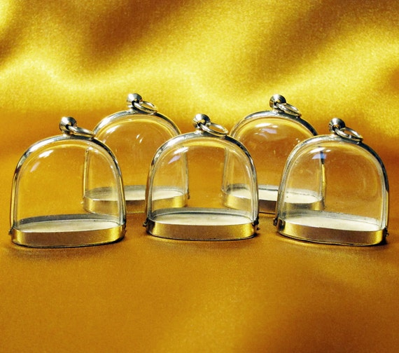 5 Clear Wide Dome Shaped Blank Shadow Box Pendant Charm Memento Jewelry Cases - ONLY 5 DOLLARS EACH