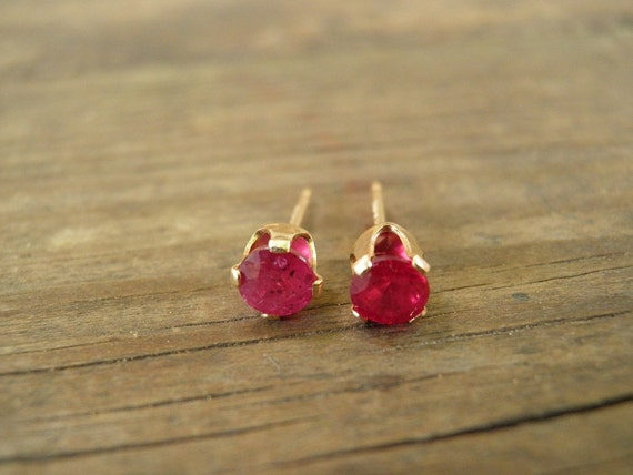 July Birthstone, Genuine Ruby Stud Earrings 14k Gold Filled, 4mm Ruby Post Earrings, Vintage Style, Summer Fashion, For Him, For Her, Unisex