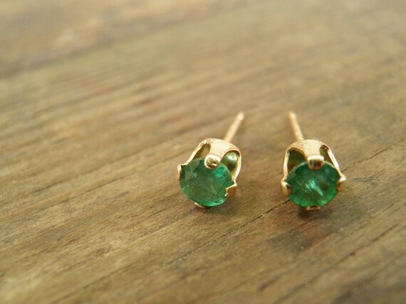 Emerald Stud Earrings, May Birthstone, Emerald Jewelry,14k Gold Filled Studs, 4mm Genuine Emerald Post Earrings, Gift For Her