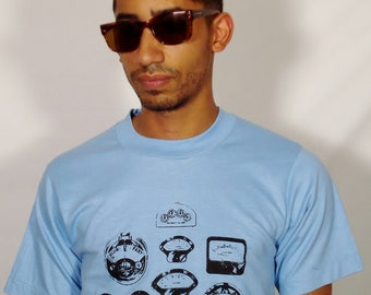 SALE Robot Dials on Vintage Baby Blue T-Shirt - Available in S